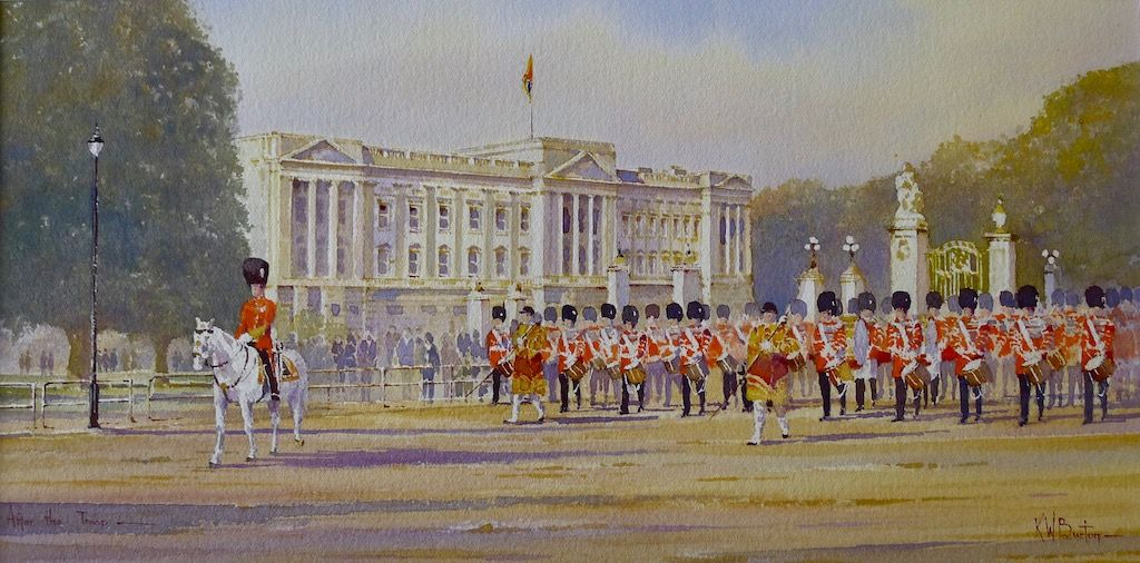 Household Division passing Buckingham Palace after Trooping the Colour